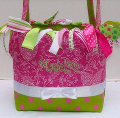 Hot Pink & Lime Boutique Diaper Bag