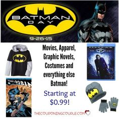 BATMAN DAY at Amazon! Catch some great deals on everything Batman! Lots of gift ideas! Apparel, comics, graphic novels, games, movies and lots more! Today only!  Click the link below to get all of the details ► http://www.thecouponingcouple.com/batman-day-at-amazon-apparel-graphic-novels-games-movies/  #Coupons #Couponing #CouponCommunity  Visit us at http://www.thecouponingcouple.com for more great posts!