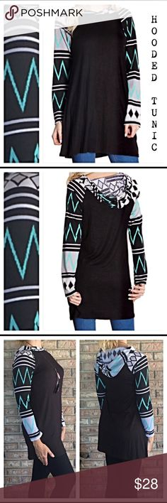 """🎈1DAYSALE🎈Hooded Fun Flowy Tribal Sleeve Tunic S This flowy fun hooded tunic can be worn year 'round with your favorite leggings or denim. Black with mint tribal geometric sleeves. Super soft & stretchy and a flattering fit. Rayon/spandex. New from manufacturer without tags.   Small Bust 32-34 Length 27"""" Tops Tunics"""