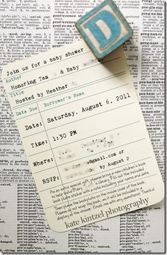 Vintage themed baby shower invites which remind me of checking out library books as a kid:)