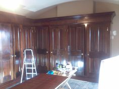 Wardrobes made from reclaimed mahogany fire doors