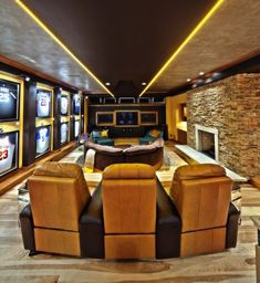 contemporary man cave with movie theater