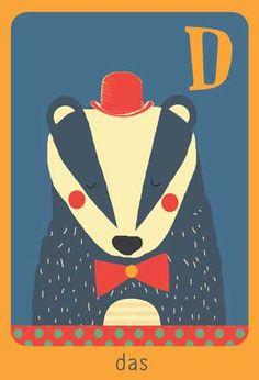 Alfabet print - D - Das - Pimpelpluis - https://www.facebook.com/pages/Pimpelpluis/188675421305550?ref=hl - (nursery print illustration kids children art poster dieren kinderen cute illustratie animal alphabet) abc cards