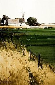 """Joseph Alleman 2005, Fence Line Watercolor 21.5"""" x 14.5"""""""