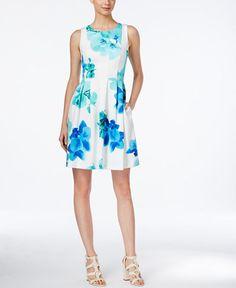 2c8b200d7f35e Calvin Klein Sleeveless Printed Fit   Flare Dress   Reviews - Dresses -  Women - Macy s