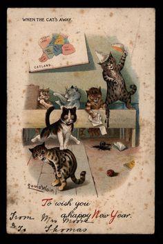 Rare Antique Christmas Card Louis Wain Cats Catland Paws Before You Leap Antique Christmas, Christmas Cats, Vintage Cards, Vintage Postcards, Vintage Ephemera, Vintage Images, Louis Wain Cats, Cat Work, Matou