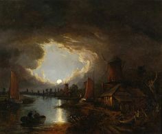 Boats and windmills at moonlight -  John Crome