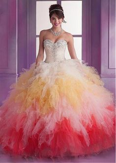 Charming Tulle & Organza Sweetheart Neckline Floor-length Ball Gown Quinceanera Dress