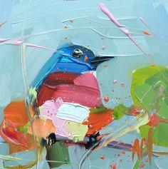 Bluebird no. 90 Original Bird Oil Painting by Angela Moulton 6 x 6 inch on Panel pre-order by prattcreekart on Etsy