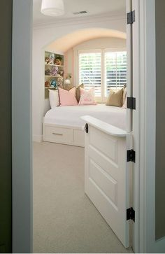 Kids Bedroom with Built-In Bed traditional bedroom dutch door instead of child gate Simple House, Traditional Bed, Traditional Bedroom, Half Doors, House, Built In Bed, Home, Baby Gates, Home Decor