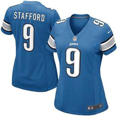 Women's Nike Detroit Lions #9 Matthew Stafford Elite Team Color Blue Jersey $109.99