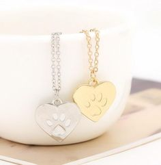 Paw Print Pendant-Gold/Silver Necklace