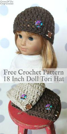 Ideas Crochet Doll Hat Pattern Inspiration For 2019 Crochet Kids Hats, Crochet Beanie, Crochet Baby, Irish Crochet, Free Crochet, Crochet Doll Clothes, Crochet Dolls, Crochet Flower Patterns, Crochet Flowers