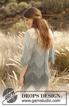 "Crochet DROPS jacket with zig-zag pattern in 2 strands ""Alpaca"". Size: S - XXXL. ~ DROPS Design"