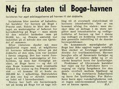 Bogø Havn 1966. Isen har ødelagt den ene kaj, som er skredet sammen og ledet ud i havnebassinet. Tidsskrift for ingeniør- og bygningsvæsen, 27/5-1966, s. 33.