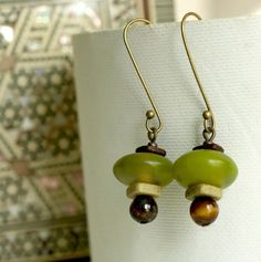 Dangle Earrings-Olive green resin with bronze,tiger eye stone and brown ceramic Boho Chic Earrings