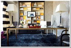 Wow, Bold use of the glamorous leopard print walls, the navy carpet and splashes of yellow! Meredith Heron Design Office Reveal.