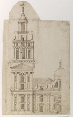 [Alzado de fachada de un templo]. Anónimo español. Andalucía s. XVII — Dibujo — 1600