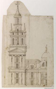 [Alzado de fachada de un templo]. Anónimo español. Andalucía s. XVII — Dibujo — 1600