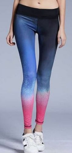 Stylish Pink and Blue Ombre Elastic Waist Slimming Color Block Yoga Pants For Women #Pink #Blue #Ombre #Color #Sretch #Yoga #Pants #Fitness #Fashion #Ideas