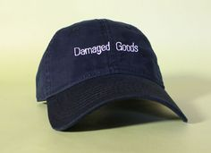 Items similar to NEW Damaged Goods Baseball Hat Dad Hat Low Profile White  Pink Black Casquette Embroidered Unisex Adjustable Strap Back Baseball Cap  on Etsy a0ee548d7e19