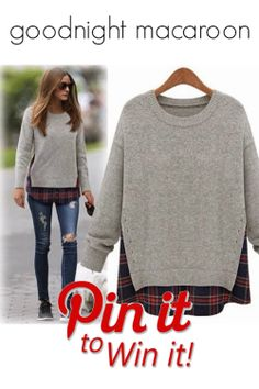 f1116e2af9 Heather Grey Side Slit Sweater with cute red plaid shirttail as seen on  Olivia Palermo. Exclusive at Goodnight Macaroon only.