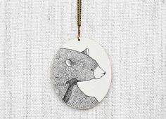 Pencil Sketched Bear Necklace  Original Drawing on by MeghannRader, $35.00