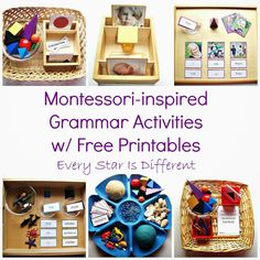 Grammar activities and printables for use with Montessori Grammar Symbols.