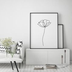 Printable wall art of poppies. An abstract line art flowers wall decor minimalist art black and white abstract botanical background. Black And White Posters, Black And White Drawing, Black And White Abstract, Line Art Flowers, Flower Art, Drawing Flowers, Abstract Line Art, Abstract Flowers, Art Abstrait Ligne