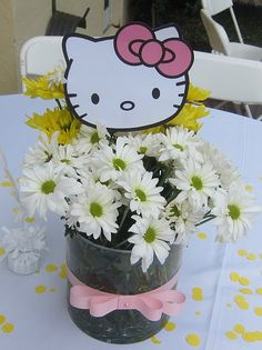 I posted a few pictures from this amazing Hello Kitty Party but here are some more details. I am really proud how these Hello Kitty Cent. Hello Kitty Baby Shower, Hello Kitty Theme Party, Kitty Party Games, Hello Kitty Themes, Hello Kitty Birthday, Cat Party, Birthday Party Centerpieces, 4th Birthday Parties, Birthday Ideas