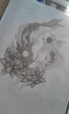 Yin Yang Koi Fish Tattoo Design by ClaireWinke