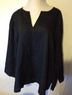 NWT GILLIAN GREY Women's Plus Tunic Top Shirt Blouse Black Linen 5X Long Sleeve  #GillianGrey #Tunic #PlusSize #5X #Linen