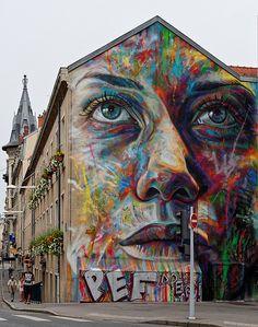 Street art by David Walker in Lorraine, France. Photo by Thierry Vilmus. Best Street Art, Amazing Street Art, 3d Street Art, Street Art Graffiti, Street Artists, Amazing Art, Murals Street Art, Street Art Utopia, Mural Art