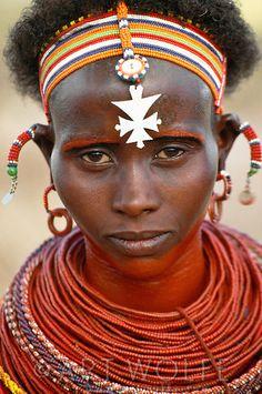 Portrait of a Samburu woman, Kenya