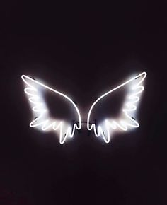 ෴๑Angels are with you protecting you wherever you go๑෴ white neon sign angel wings