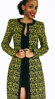 COLLARLESS SLIM AFRICAN PRINT MAX COAT – Iwacu Shop African textile, yellow and black max cotton jacket with a clean cut black outer lining all around as well as on the pockets. African Fashion Ankara, African Fashion Designers, African Print Fashion, Africa Fashion, African Dresses For Women, African Print Dresses, African Attire, African Wear, African Prints