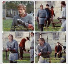 Merlin. actually that's really bradley making fun of collin and they kept it in the show