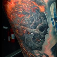 A Ghost rider tattoo from Boris done with Intenze tattoo ink.