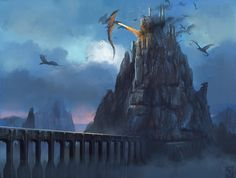 Dragons attack cliff-side castle
