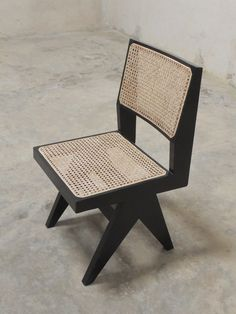 Pierre Jeanneret designed armless chair (a.k.a Pierre Jeanneret Dining Chair) made from fine Burma Teak. The seat and back are made from cane.