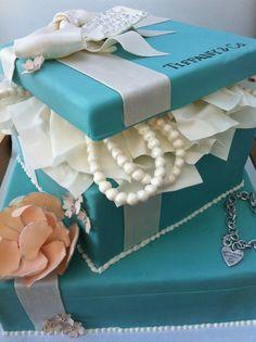 tiffany birthday dessert tablescapes | Tiffany birthday cake by Cocoa Lane Sweeterie, Brooklin, Ontario