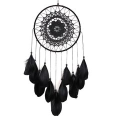 Handmade Dreamcatcher Black Feather Lace Indian Dream Catcher Bead Hanging Decoration Ornament Gift-in Wind Chimes & Hanging Decorations from Home & Garden on Aliexpress.com | Alibaba Group