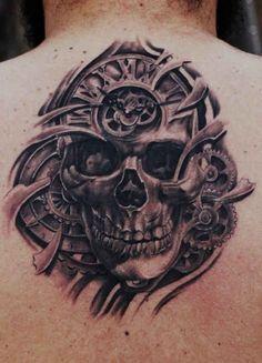 Tattoo clock with a Skull on the back - http://tattootodesign.com/tattoo-clock-with-a-skull-on-the-back/ | #Tattoo, #Tattooed, #Tattoos