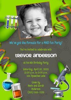 FORMULA FOR FUN - Science Scientist - Boy (or Girl) Custom Photo Party Invitation