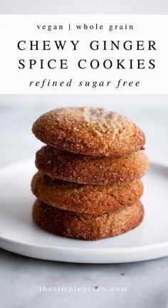 These chewy vegan ginger spice cookies are an easy and healthier sweet treat. Made with whole wheat flour and warming spices like ginger and cinnamon. Soft and chewy on the inside! Healthy Sweet Treats, Vegan Treats, Healthy Sweets, Vegan Baking, Healthy Baking, Vegan Dessert Recipes, Baking Recipes, Sweet Recipes, Whole Food Recipes
