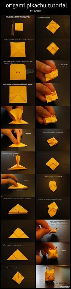 Origami Pikachu Tutorial. Step by step in both English and Photos. Unusual on this Chinese website but YAY! From: 折纸