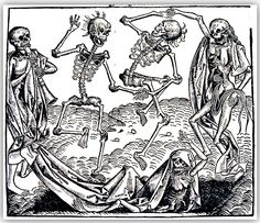 inch Canvas Print (other products available) - BLACK PLAGUE, <br> Dance of death with plague victims. Woodcut from the Nuremberg Chronicle, - Image supplied by Granger Art on Demand - Box Canvas Print made in the USA Dance Of Death, Dance Of The Dead, Illustrations, Illustration Art, Photography Illustration, La Danse Macabre, Black Death, Medieval Art, Photography