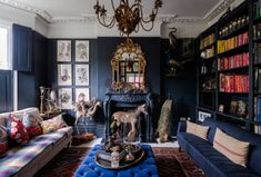 The Househunter: The Fashion Stylist's House Blue Rooms, French Style Furniture, Dark Walls, Room Inspiration, Victorian Hallway, House, Painted Floorboards, Kitchen Sofa, Dining Nook