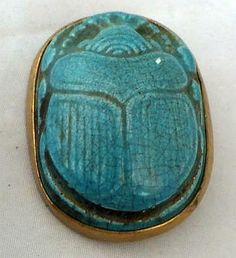 Huge Victorian Egyptian revival 19th century pottery scarab beetle button