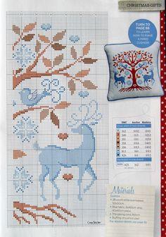 .cross stitch deer/fawn bird, dádýr og smáfugl